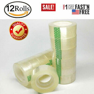 12 Rolls Crystal Clear Transparent Tape Dispenser Refills 34 X 1000 Wholesale