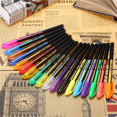 18 Pcs Color Gel Pen Set Adult Coloring Book Ink Pens Drawing Painting Craft Art
