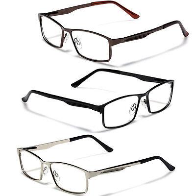 Large Size Mens Metal Rectangle Reading Glasses Spring Hinge Fashion Readers (Large Rectangle Glasses)