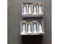 8 Ivory cake pillars and rods