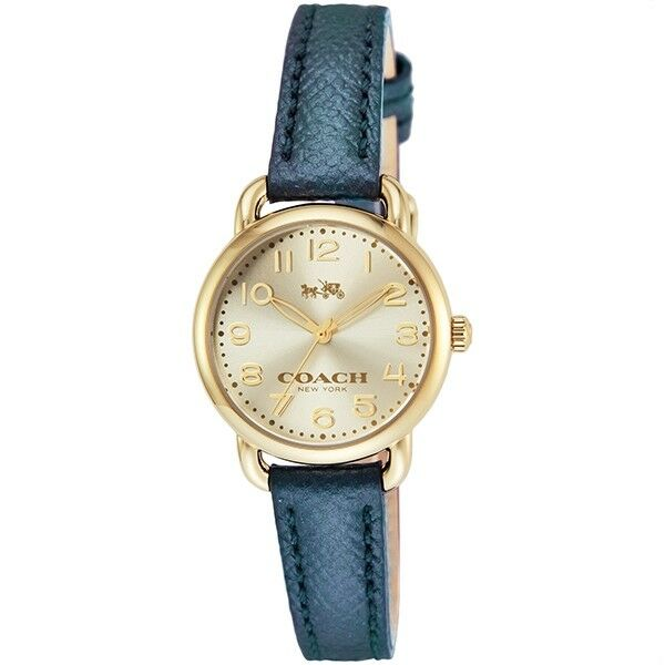 Coach Women's Delancey Gold Tone Metallic Blue Leather Watch 28mm 14502250 $250 Jewelry & Watches