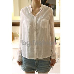 NEW Lady Casual Stand-up Collar Long Sleeve Pocket Shirts Blouses Tops SZ/8-22