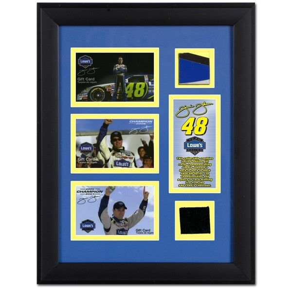 Jimmie Johnson Race Used Tire & Sheet Metal Framed For His First 3 Back to Back