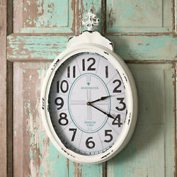 Kensington Palace Wall Clock Distressed Tin Farmhouse Country Shabby Chic New