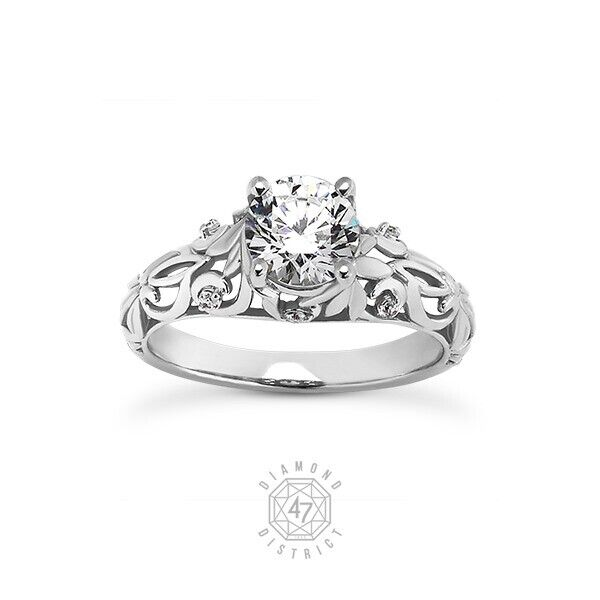 1.13ct Tw H-si1 Round Cut Natural Certified Diamonds 14k Gold Side-stone Ring