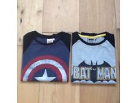 Batman and Captain America Long Sleeve Tops age 7-8