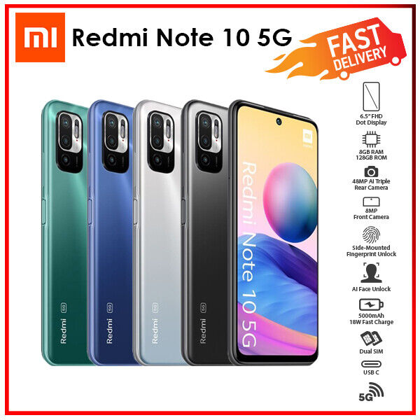 Android Phone - (Unlocked)Xiaomi Redmi Note 10 Dual 5G 8GB+128GB Triple Cam Android Mobile Phone