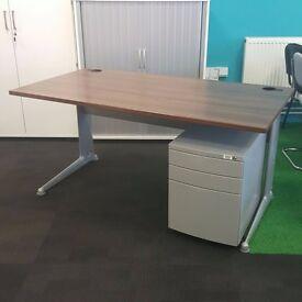 Walnut Desk and Pedestal