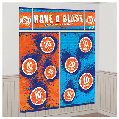 NERF Birthday Party Decorations Wall Backdrop Targets Backdrop Scene Setter Guns