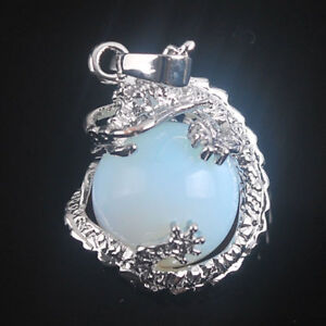 Sterling Silver Dragon on Moonstone Sphere + Silver Chain