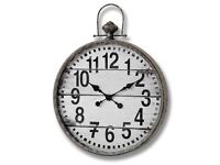 Stylish Large Traditional Pocket Watch Wall Clock Metal frame aged effect and glass face REDUCED