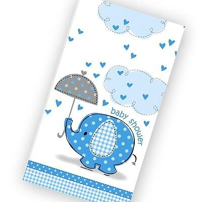 Baby Shower Elefant Tischdecke blau, 1,37x2,13 cm