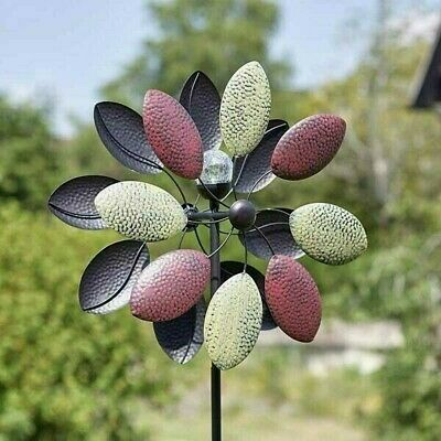 Aquarius X Large Metal Garden Wind Spinner LED Colour Change Solar Powered Globe