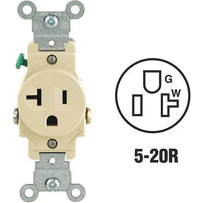 10-Leviton 20A Ivory 3 Wire 5-20R Shallow Single Electric Outlet S01-5801-KIS