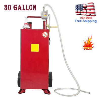 30 Gallon Gas Caddy Tank Storage Drum Gasoline Diesel Fuel Transfer Heavy Duty