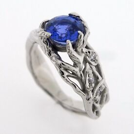 One Off Natural Sapphire Palladium Engagement Ring with Diamonds