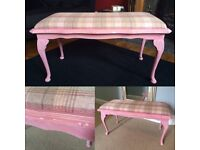 Upholstered bench matching standard lampshade refurbished table!