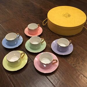 Cute pastel and gold tea cup and saucer set