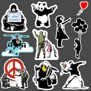 9x banksy sticker set vinyl graffiti street art stencil. Black Bedroom Furniture Sets. Home Design Ideas