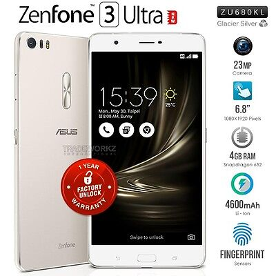 """New ASUS Zenfone 3 Ultra ZU680KL Silver 6.8"""" IPS LCD 4G LTE Android Mobile Phone"""
