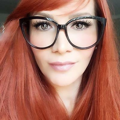 Large Feminine Cat Eye Glasses Sexy Secretary Clear PinUp Kat Big Fashion Frames (Big Glasses Frames)