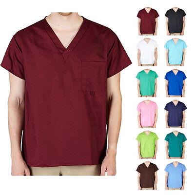 Unisex Men/Women Modern V-Neck Scrub Top Hospital Medical Nursing Plain Uniform Unisex V-neck Top