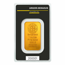 WIRE PAYMENT - 1 oz Argor Heraeus Gold Bars - Lot of 5