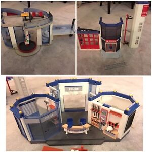3 Playmobil Sets - Firehouse, Police Station, Airport