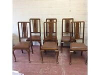Set of 6 edwardian mahogany queen anne dining chairs