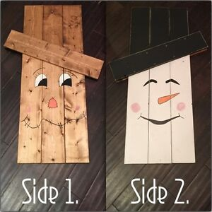 Reversible Scarecrow / Snowman Outdoor Decor - Seasonal Decor