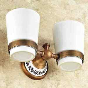 Wall Mounted Vintage Antique Brass Double Porcelain Cup Toothbrush Holder Set