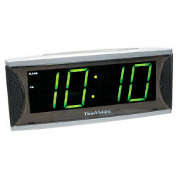 Super Loud Alarm Clock with 2 Inch Green LED, Large Numbers, Low Vision, Loud