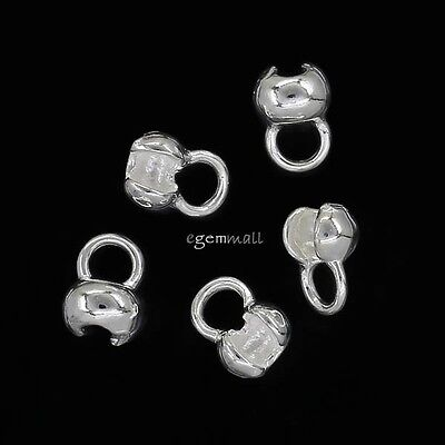 6 Sterling Silver Necklace End Knot Cover Crimp Beads for 2-2.5mm Knot #97900