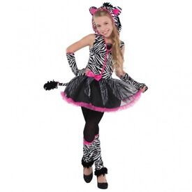 GIRLS ZEBRA FANCY DRESS OUTFIT AGE 13/14 YEARS IS MISSING A GLOVE