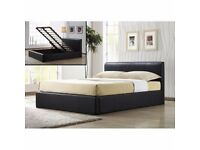 DOUBLE LEATHER STORAGE OTTOMAN GAS LIFT UP BED FRAME & MATTRESS SMALL