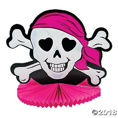 Pirate Girl Centerpiece Skull Head Party Decoration Pink (Pirate Decoration)