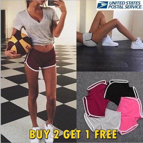 Women Yoga Shorts Running Gym Pants Sports Workout Beach Mid Waist Short US