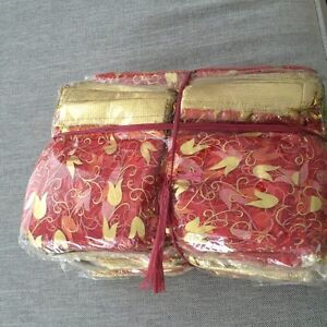 Red and golden wedding favor organza bags