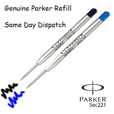 GENUINE PARKER BALLPOINT REFILL BIRO MEDIUM BLACK BLUE SMOOTH WRITING QUINK FLOW