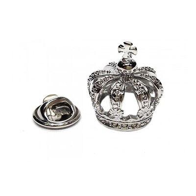 3D Silberfarbig detailliert Krone Metall Anstecknadel Royalty King Queen ajtp461