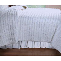 RUFFLE white QUEEN bed quilt set 3 pieces NEW courtepointe