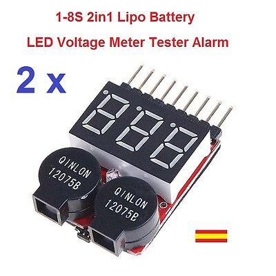 2 x Probador Tester Medidor Baterias RC Lipo Li-ion LiMn Li-Fe 1S-8 2en1 Alarma segunda mano  Embacar hacia Mexico