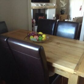 Solid oak table and chairs (SOLD)