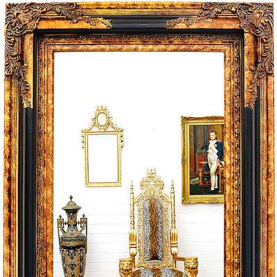 VIENNA-CLASSIC WANDSPIEGEL ca.152cm HOLZ RAHMEN SPIEGEL groß ANTIK GOLD-SCHWARZ