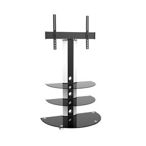 """Swivel TV stand with 3 shelves in tempered glass Black 32""""to 55"""""""