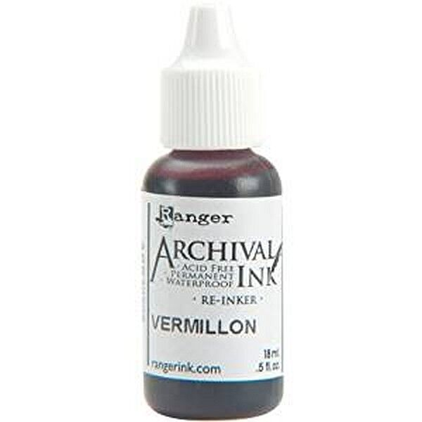 RANGER Archival Reinker .5oz Refill Ink for Stamp Pads Select from 55 colors Vermillion