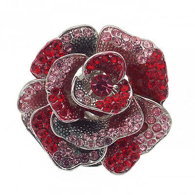 Rose Flower Cocktail Adj Ring Paint Jewelry Red Multicolor 3D Enamel Fashion New