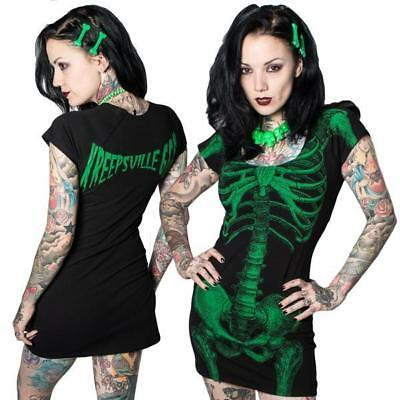 KREEPSVILLE 666 Green Black Skeleton Fitted Tunic Halloween Mini Dress Sz L New - Green Halloween Dress