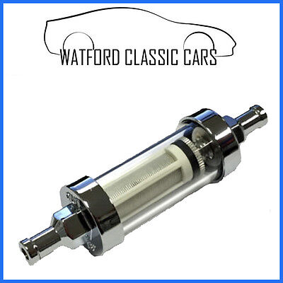 Washable inline chrome/glass fuel filter 3/8  Kit cars ,Motorbike ,Classic Car -