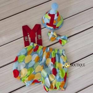 Baby boy birthday smash cake outfit - full set